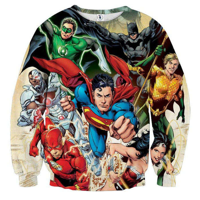 Justice League Superheroes Cool Team Art 3D Printed Sweatshirt - Superheroes Gears