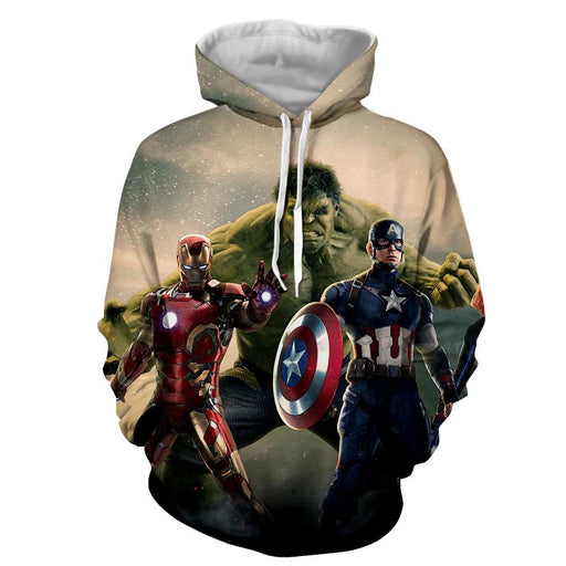 Marvel The Avengers Iron Man Hulk Aggressive 3D Print Hoodie