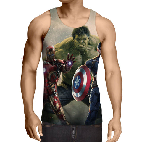 Marvel The Avengers Iron Man Hulk Aggressive Print Tank Top