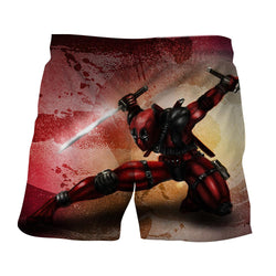 Serious Deadpool Dual Blades Fighting Fashionable Print Short
