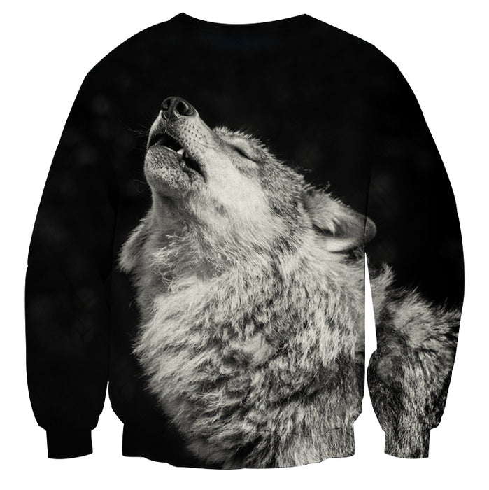 Howling Lonely Wolf Simple Realistic Design Black Sweatshirt