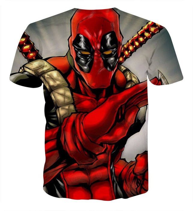 Deadpool Wielding A Knife Fighting Amazing Design T-shirt - Superheroes Gears