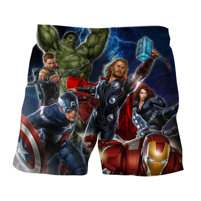 Marvel The Avengers Main Characters Flying Swag Print Shorts