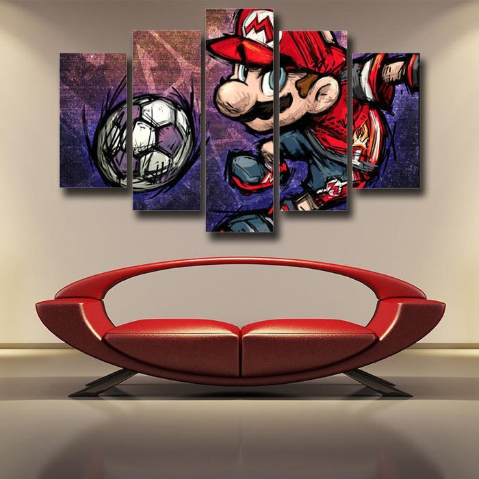 Super Mario Sketch Hip-Hop 5pc Wall Art Posters Canvas Prints