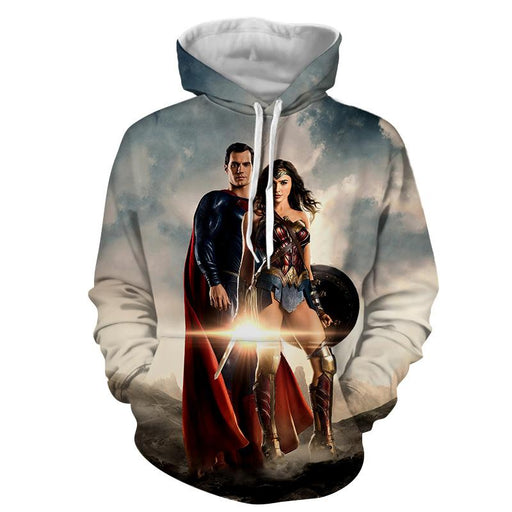 Dawn Of Justice Superman and Wonder Woman Full Print Hoodie - Superheroes Gears