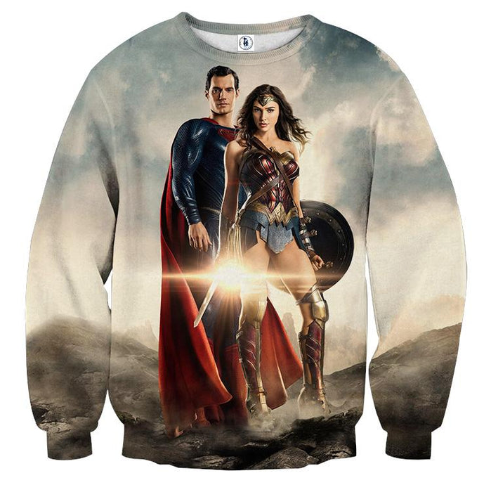Dawn Of Justice Superman and Wonder Woman Full Print Sweatshirt - Superheroes Gears