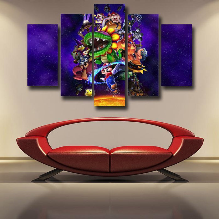 Super Mario Skyship Villain 5pc Wall Art Posters Canvas Prints