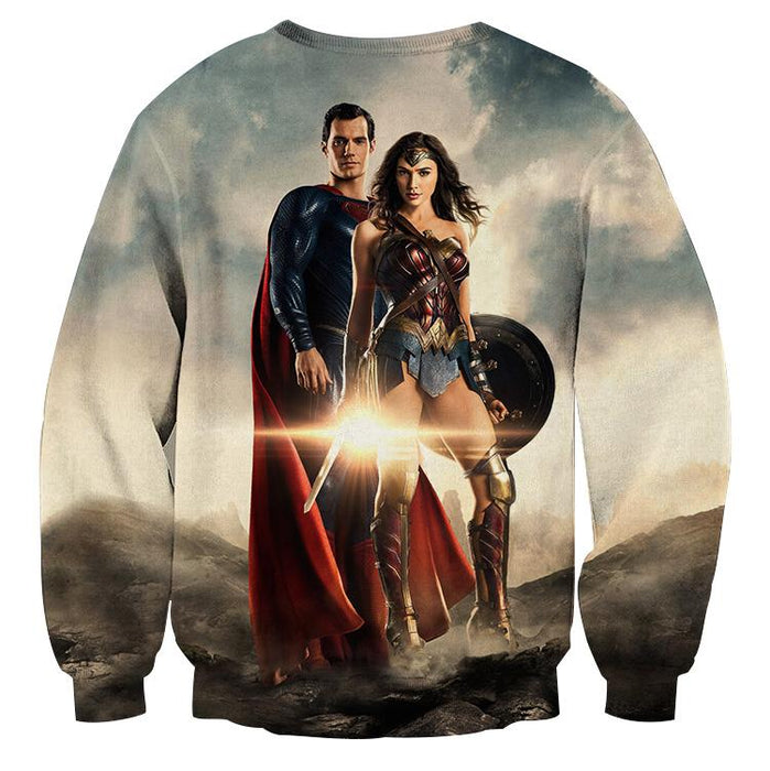 Dawn Of Justice Superman and Wonder Woman Full Print Sweatshirt