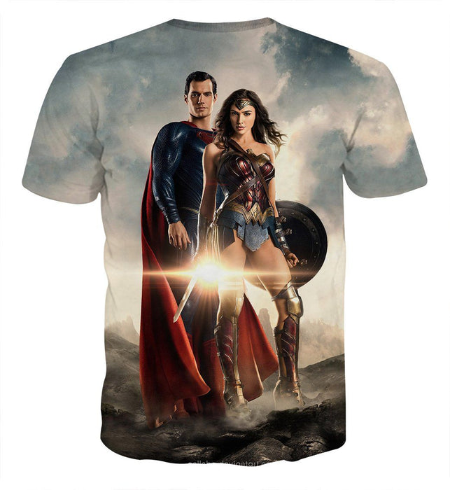 Dawn Of Justice Superman and Wonder Woman Full Print T-Shirt - Superheroes Gears