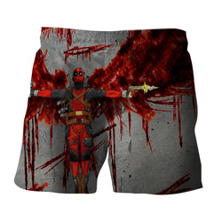 Deadpool Guns Holding Bloody Wings Dope Design Print Short