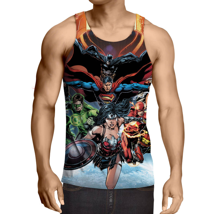 Justice League DC Comics Superheroes Team Awesome 3D Print  Tank Top - Superheroes Gears