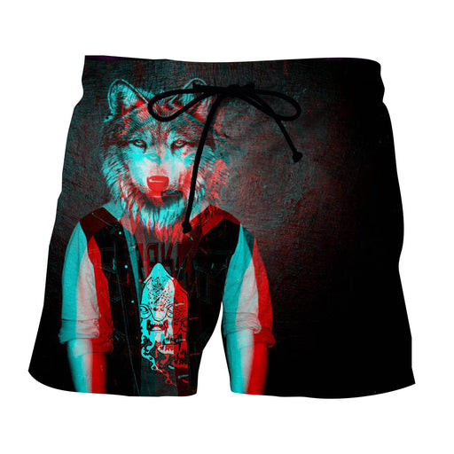 Wolf Head Human Body Mystery Black Art Design Shorts