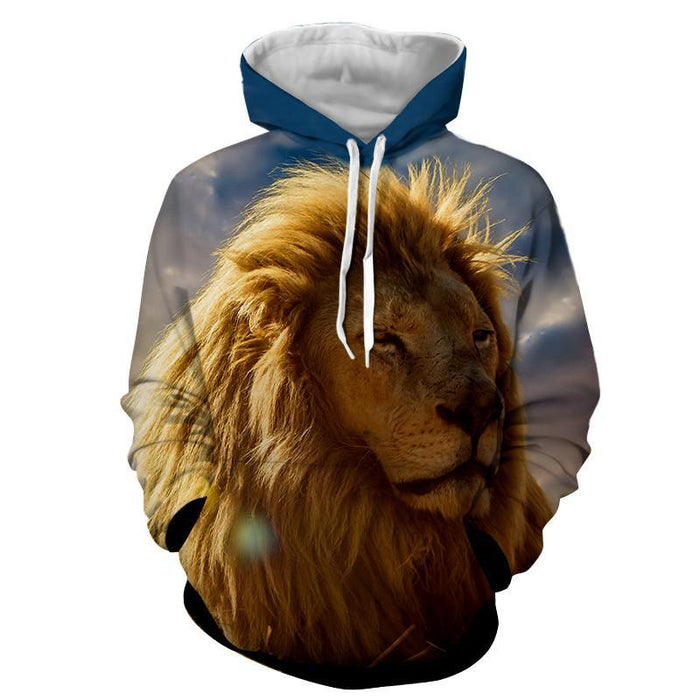 Royal Vibe Lion Realistic Full Print Winter Style Hoodie
