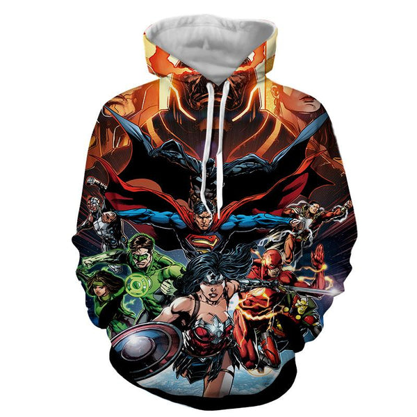 Justice League DC Comics Superheroes Team Awesome 3D Print Hoodie