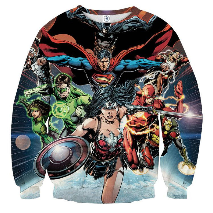 Justice League DC Comics Superheroes Team Awesome 3D Print Sweatshirt - Superheroes Gears