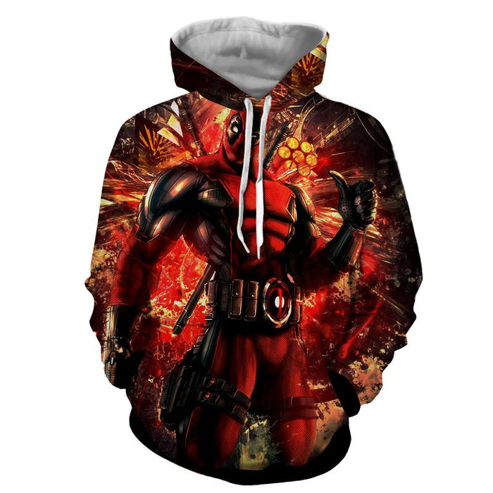 Muscle Deadpool Thumbs Up Cool Style Vibrant Design Hoodie