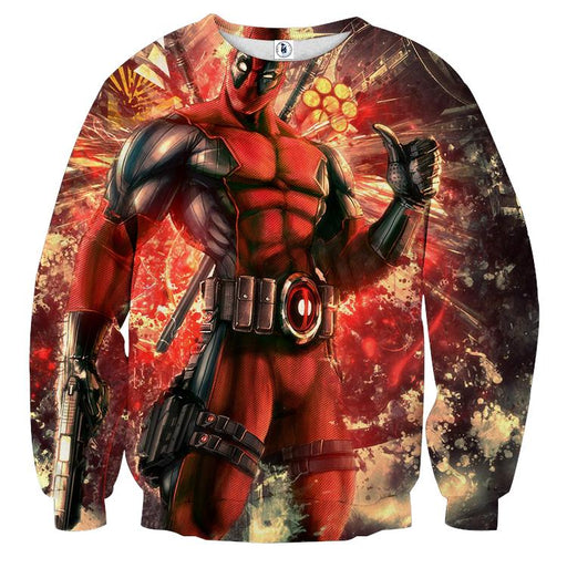 Muscle Deadpool Thumbs Up Cool Style Vibrant Design Sweatshirt