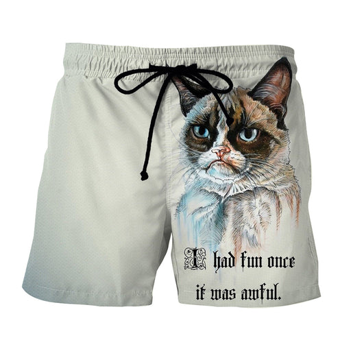Grumpy Cat Portrait Simple Design Hip Hop Style Shorts