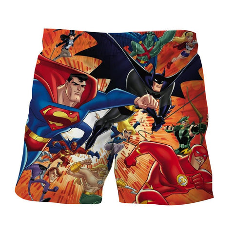 Justice League DC Awesome Superheroes Team 3D Printed Shorts