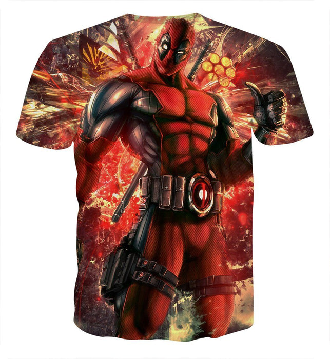 Muscle Deadpool Thumbs Up Cool Style Vibrant Design T-shirt