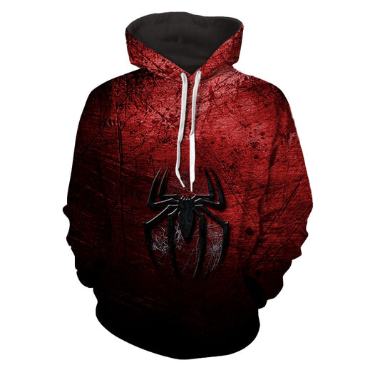 Spiderman Logo Dark Red Black Print Hoodie