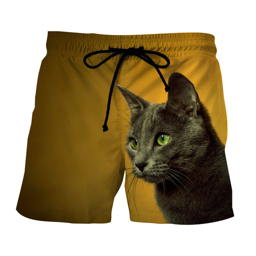 Curious Cat Face Portrait Simple Design Yellow Shorts - Superheroes Gears