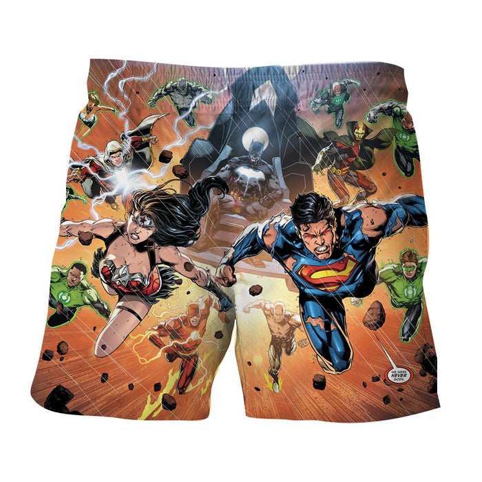Justice League Heroes Fighting Dope Design 3D Print Shorts - Superheroes Gears