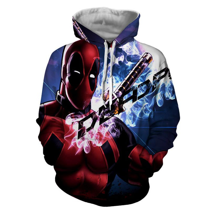 Sexy Deadpool Winking Awesome Portrait Smoke Design Hoodie - Superheroes Gears