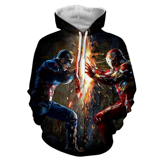 The Avengers Iron Man Fighting Captain America Print Hoodie