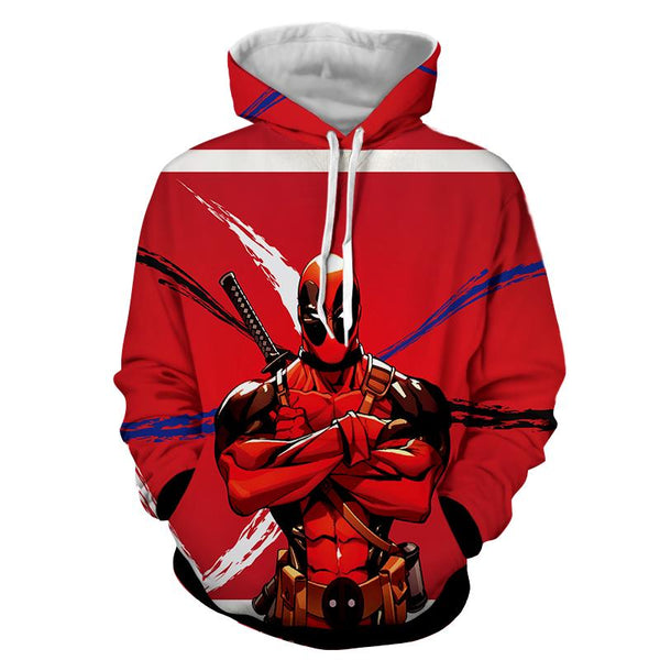 Deadpool Folding His Arms Dope Style Full Print Red Hoodie