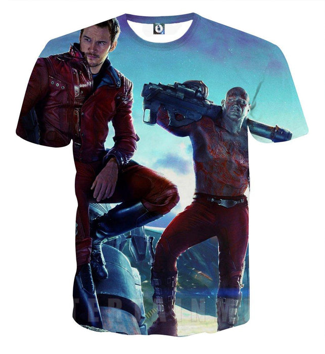 Guardians of the Galaxy Star-Lord Drax Cool Standing Design T-shirt - Superheroes Gears