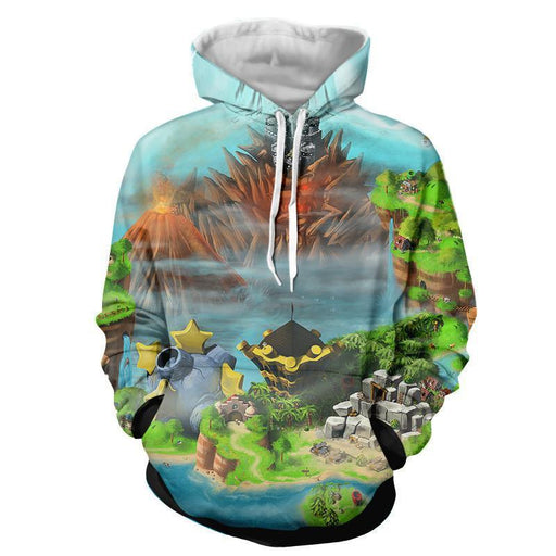 Super Mario Castle Defender Game Color Design Pocket Hoodies