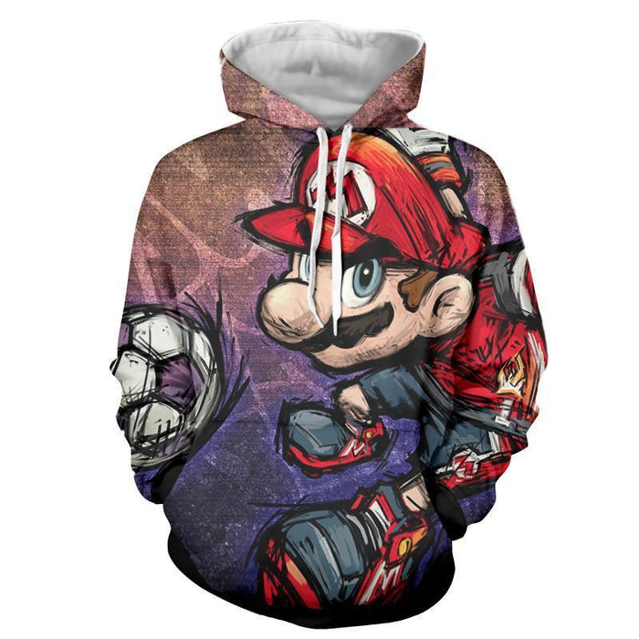 Super Mario Cartoon Sketch Cool Hip-Hop Style Design Hoodie