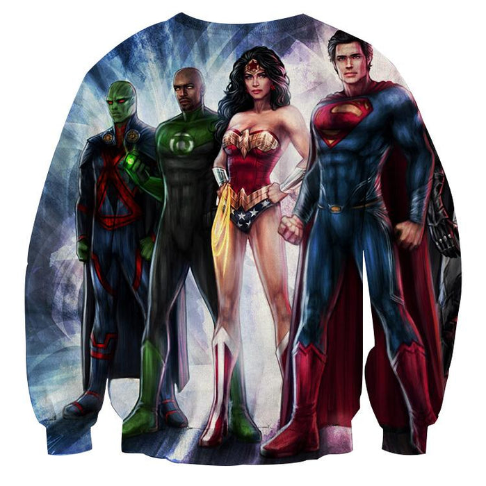 Justice League  Heroes Cool Fan Art Design Full Print Sweatshirt - Superheroes Gears