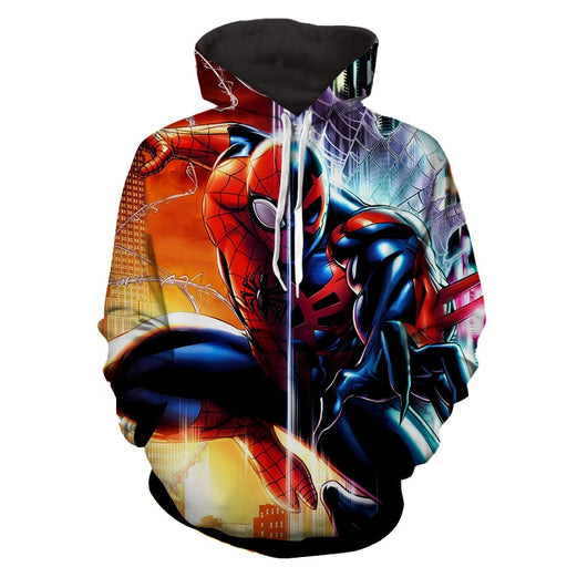 Spiderman Half Kaine Two Sides Print Hoodie
