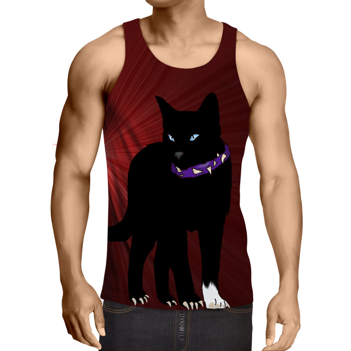 Black Scourge Cat With Red Light Art Design Tank Top - Superheroes Gears