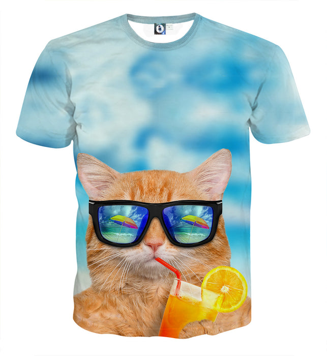 Cat Face Sunglasses Summer Vibe Stylish Dope T-Shirt - Superheroes Gears