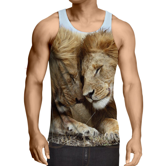 Couple Lion Romantic Theme Animal Trending Tank Top - Superheroes Gears