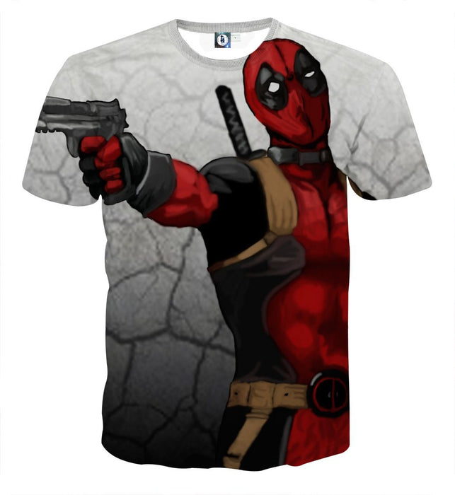 Deadly Deadpool Shooting Scene Dope Style Full Print T-shirt - Superheroes Gears