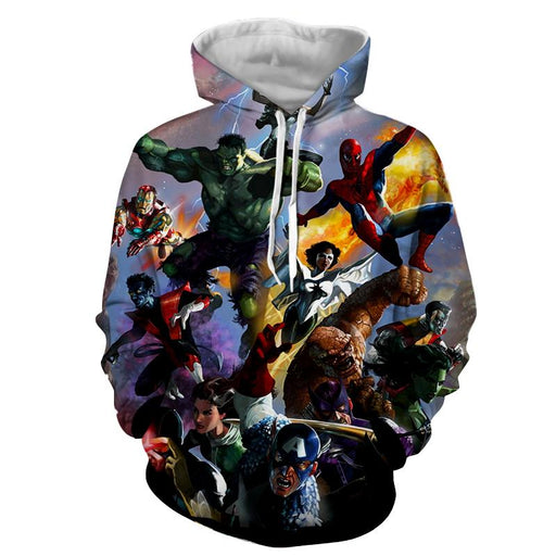 Marvel Superheroes In Battle Unique Style 3D Print Hoodie