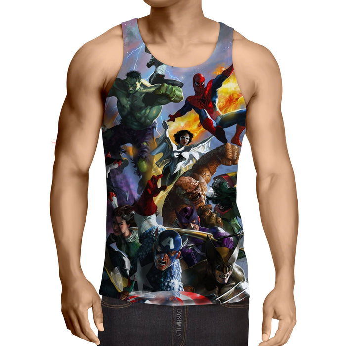 Marvel Superheroes In Battle Unique Style 3D Print Tank Top