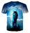 Glowing Fierce Wolf Cloudy Place Blue Fashionable T-Shirt