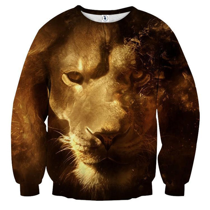 Art Style Lion Portrait Wild Animal Urban Wear Sweatshirt - Superheroes Gears