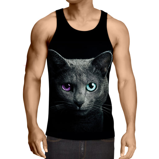 Fantastic Purple And Blue Eyes Black Cat Design Tank Top