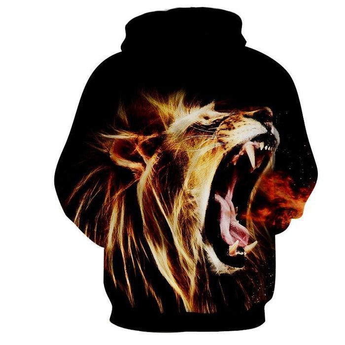 Angry Lion Roar Fire Breath Fantasy Streetwear Hoodie - Superheroes Gears