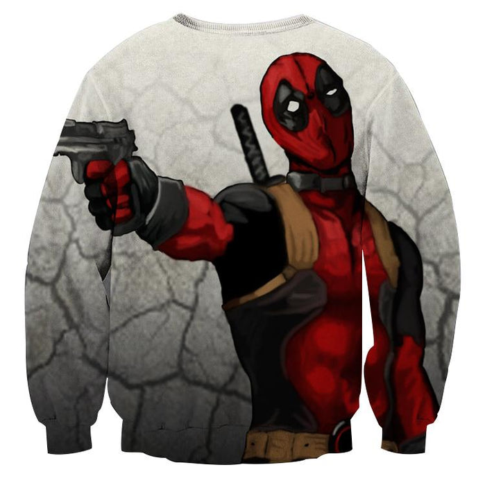 Deadly Deadpool Shooting Scene Dope Style Full Print Sweatshirt - Superheroes Gears