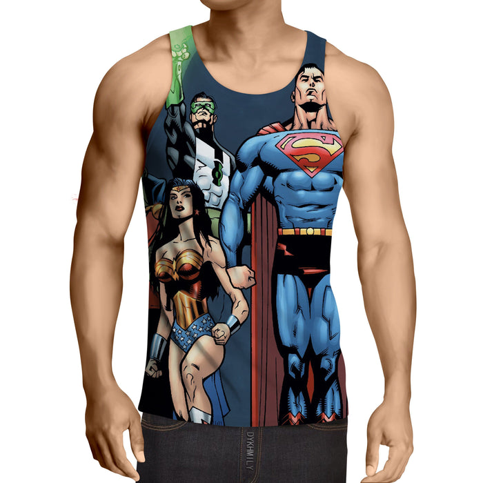 Justice League Superheroes Team Up Full Print Tank Top - Superheroes Gears