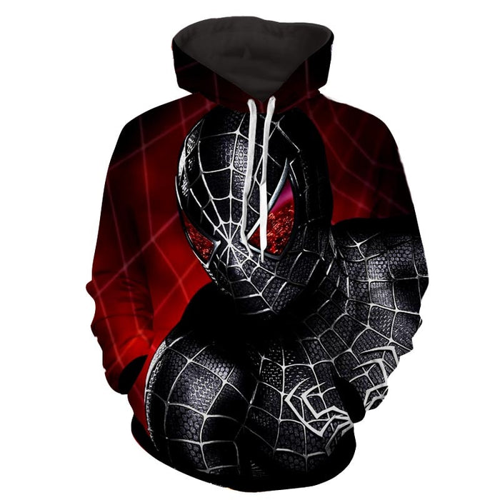 Dark Spiderman Badass Red Print Hoodie