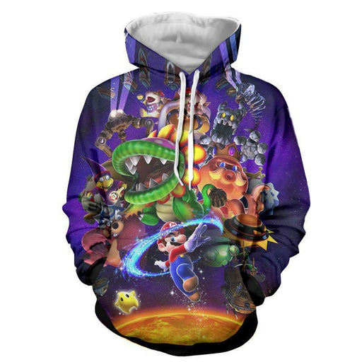 Super Mario Skyship Bowser Monster Vibrant Print Hoodie