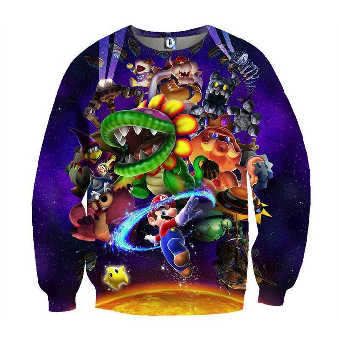 Super Mario Skyship Browser Monster Vibrant Print Sweatshirt